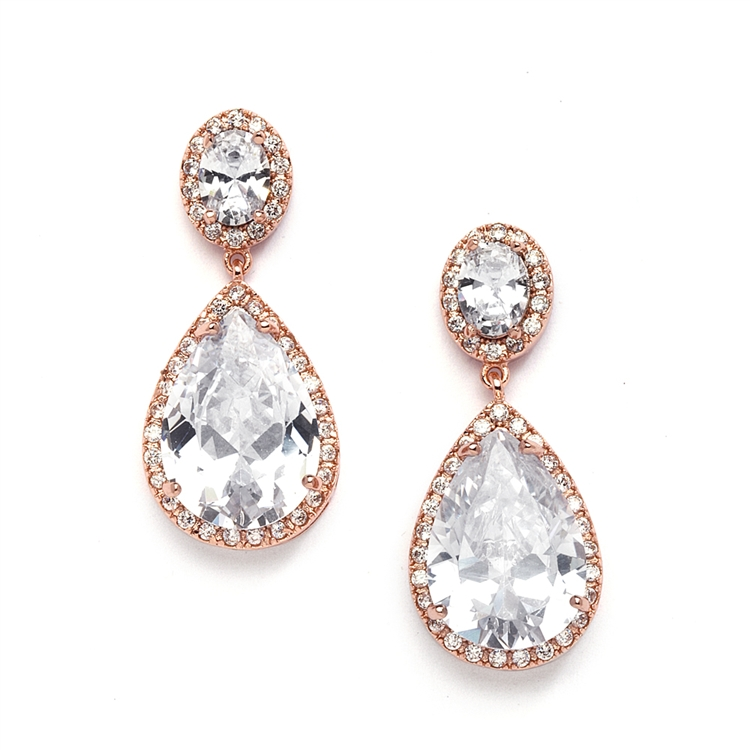 Best Ing Cubic Zirconia Rose Gold Pear Shaped Bridal Earrings