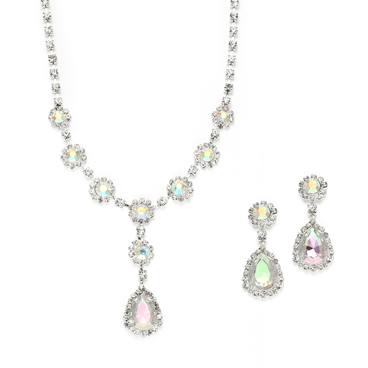 Iridescent Rhinestone Prom Or Bridesmaid Necklace Earrings Set