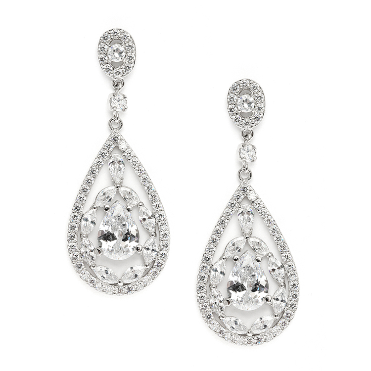 Cubic Zirconia Mosaic Teardrop Bridal Prom Or Wedding Earrings