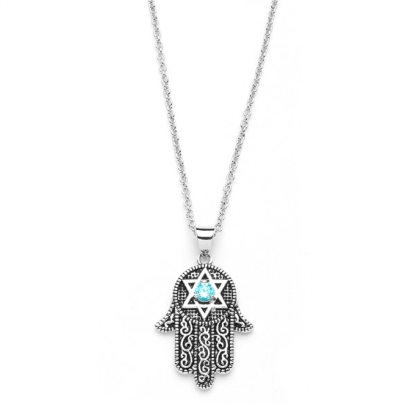 Hand of god pendant with aquamarine cz and star of david hand of god pendant with aquamarine cz and star of david aloadofball Image collections