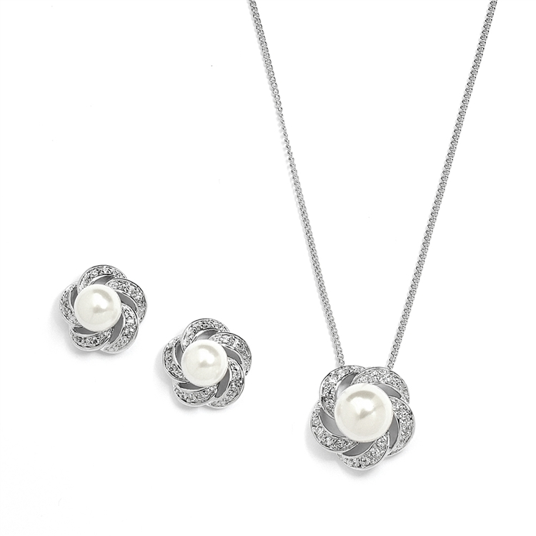 Ivory Pearl Cubic Zirconia Bridal Or Bridesmaid Necklace Earrings Set
