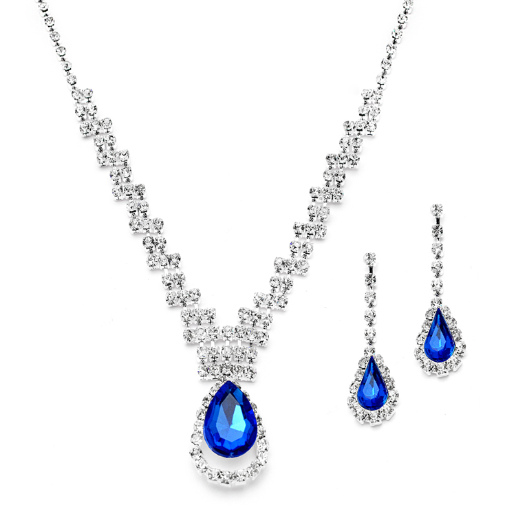 5a3e6a864 Prom or Bridesmaids Rhinestone Necklace Set with Royal Blue Caged ...