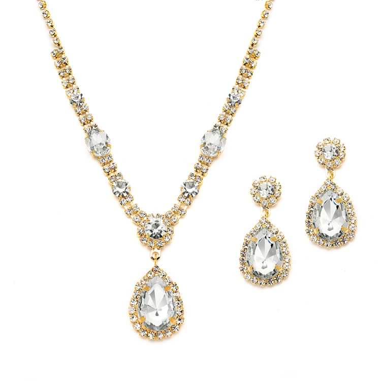 fe120205e Gold and Clear Rhinestone Necklace & Earrings Set for Prom or Bridesmaids