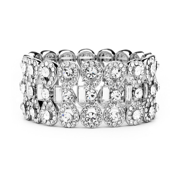 Ravishing Bridal Stretch Bracelet with Crystal Baguettes