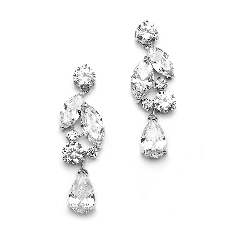 Cubic Zirconia Mosaic Wedding Earrings